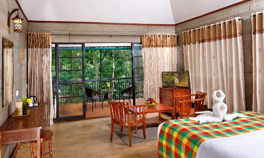 Spacious interiors of the cottages in our resort in Kalpetta Wayanad that provide good views to outside
