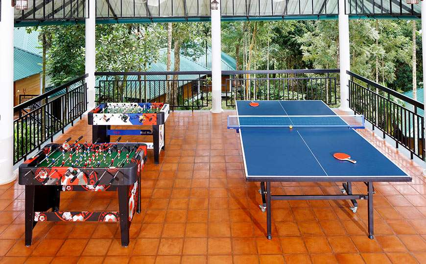 Indoor Board Games room arranged at our resort in Wayanad for leisure activities to make sure that you never spend even a minute bored.