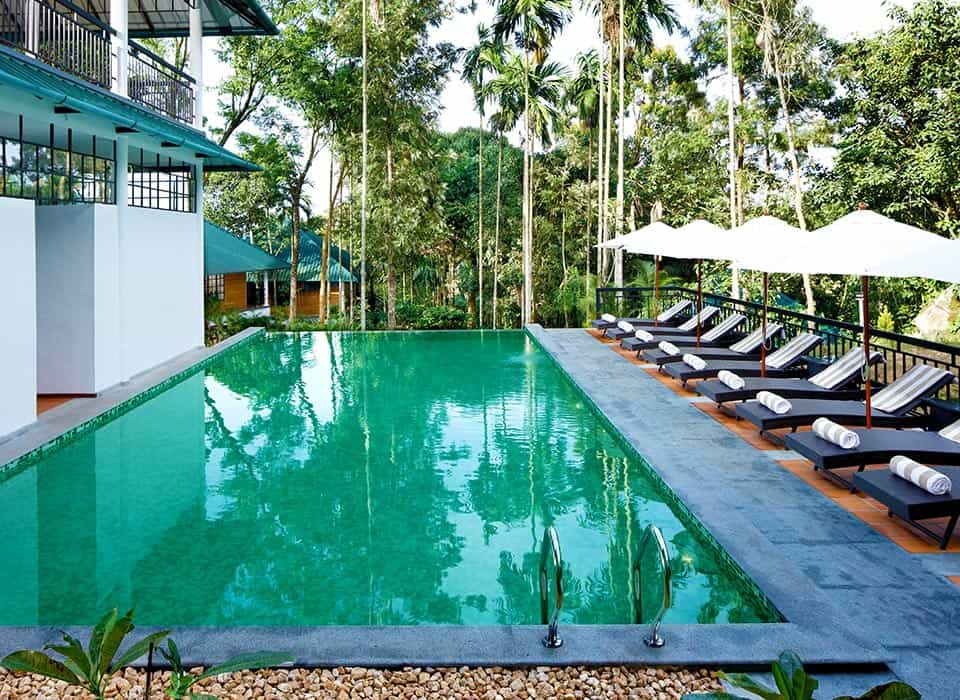 Take a dip in the swimming pool at our resort in Wayanad